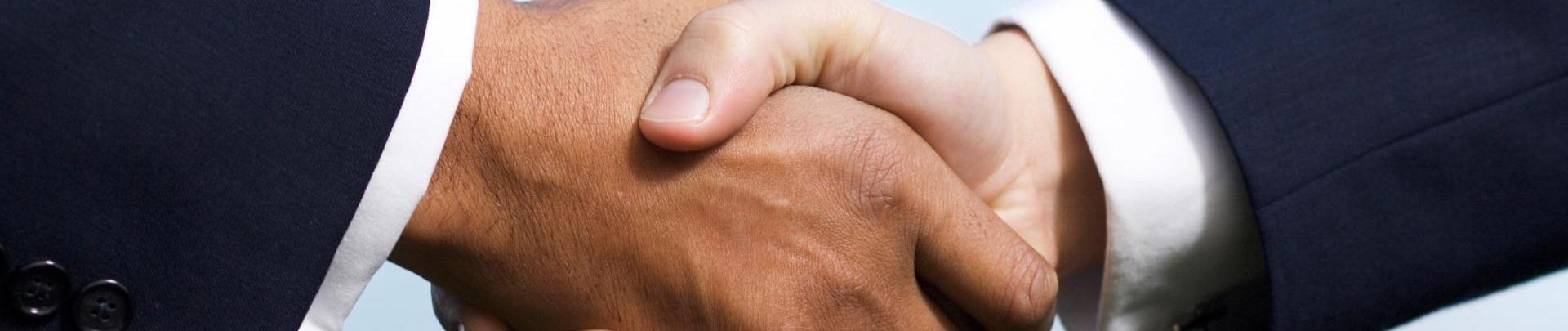 Twee mannen schudden elkaar de hand
